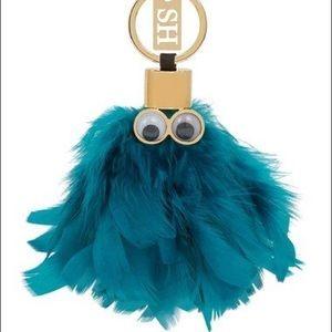 Sophie Hulme Blue Feather Bag Charm Keychain NWOT